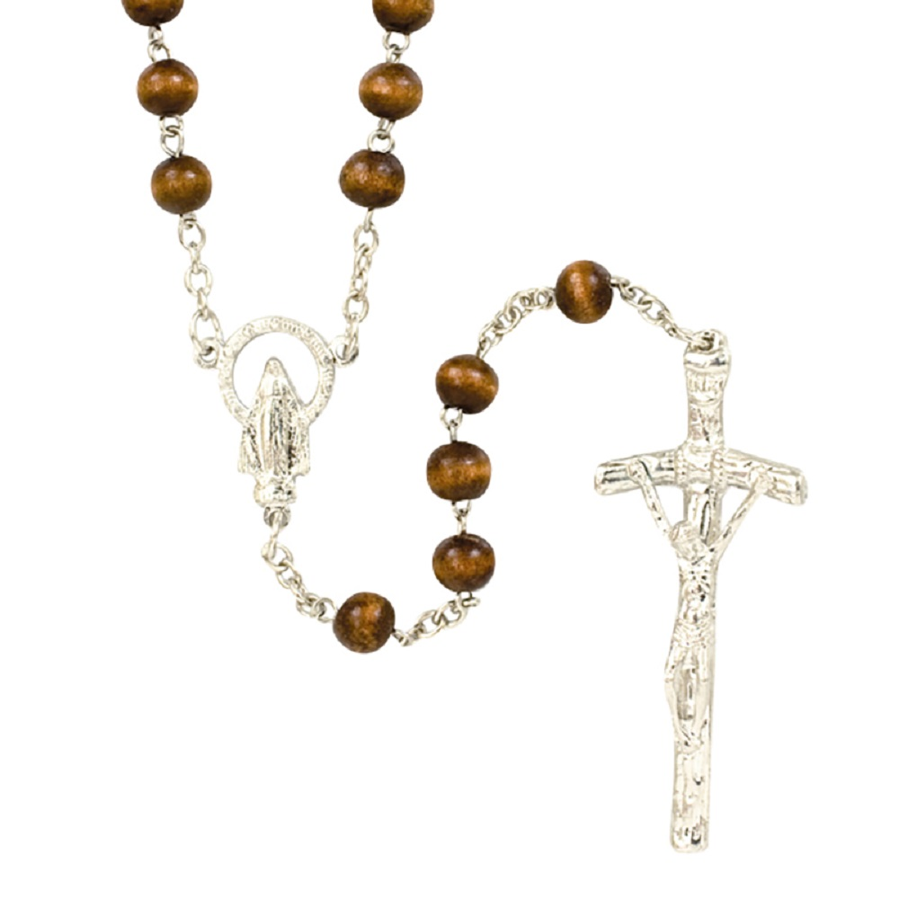 Fine Wood Bead Papal Crucifix rosary