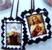 Small Full Color Image Embroidered Brown Scapular