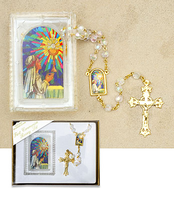 Girls White Deluxe Rosary Set
