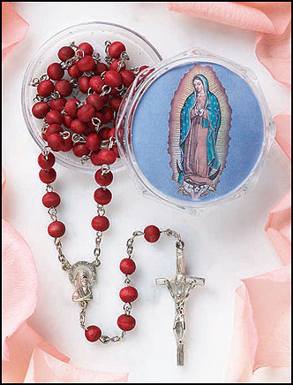 Guadalupe Rose Scented Rosary in case