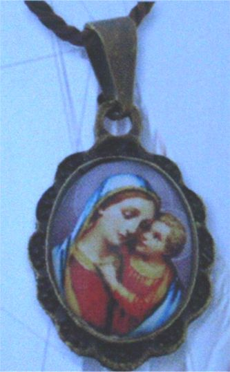 Our Lady of Good Counsel Antiqued Medal Pendant