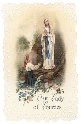 Our Lady of Lourdes Vintage Replica holy card