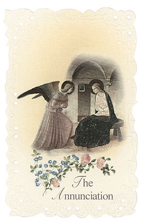 The Annunciation Vintage Replica holy card