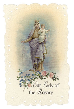 Our Lady of the Rosary Vintage Replica holy card