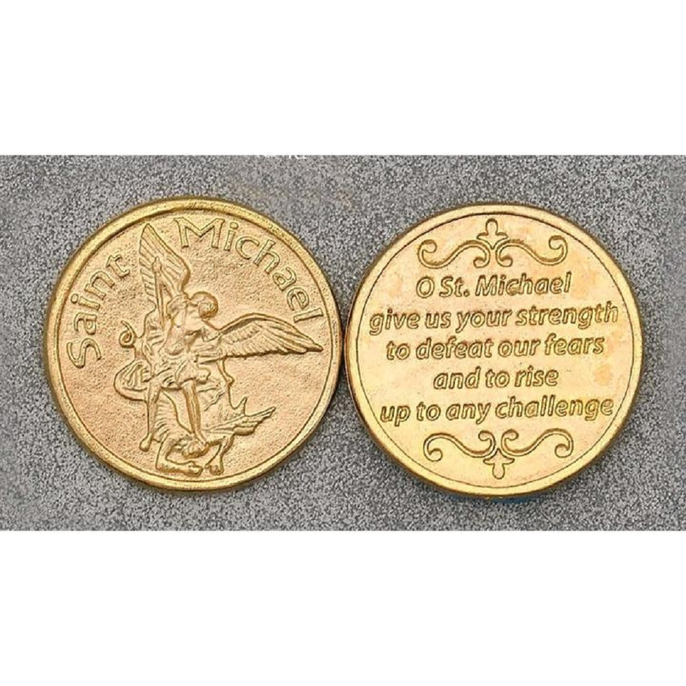 Gold Tone St. Michael Token
