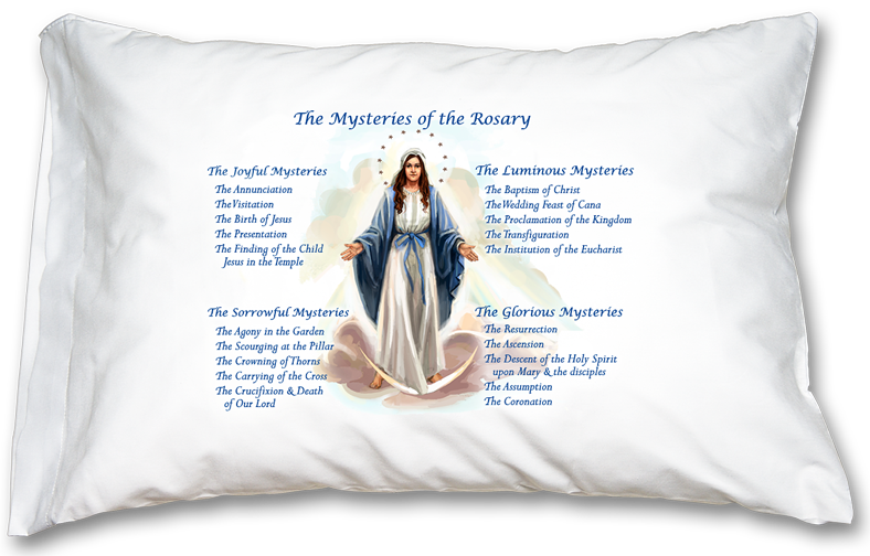 Mysteries of the Rosary prayer pillowcase