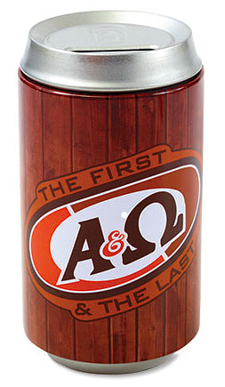A & Ω Soda Can Bank