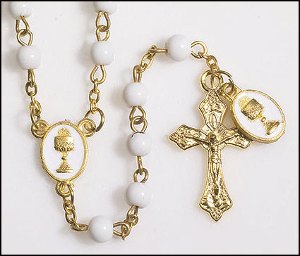 Girl First Communion Rosary with Dangle