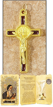Brown Saint Benedict Cross in Gift Folder