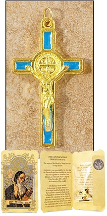 Blue Saint Benedict Cross in Gift Folder