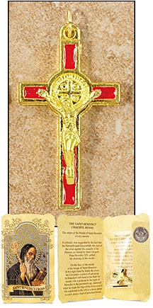 Red Saint Benedict Cross in Gift Folder