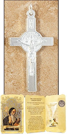 Silver Tone Saint Benedict Cross in Gift Folder