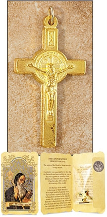 Gold Tone Saint Benedict Cross in Gift Folder