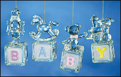 Set of Four Baby Block ornaments
