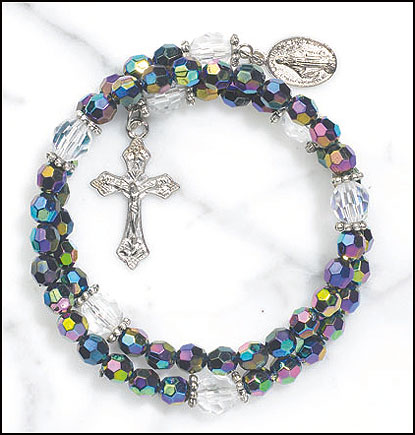 Purple wrap rosary bracelet