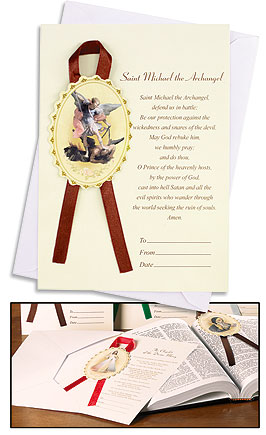 St Michael Greeting Card, Bookmark & Envelope