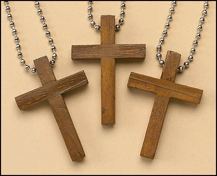 Simple Wood cross key chain