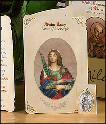 St Lucy (Salespeople) Holy Card with Medal