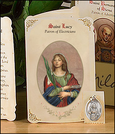 St Lucy (Electricians) Holy Card with Medal
