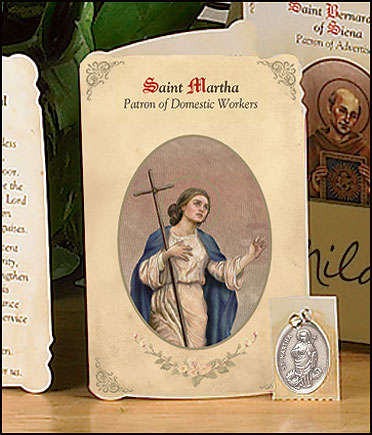St Martha (Domestic Workers) Holy Card with Medal-