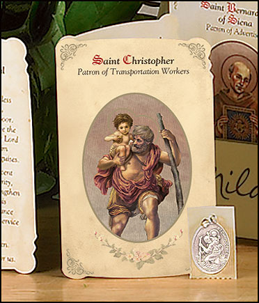 St Christopher (Transportation Workers) Holy Card with Medal
