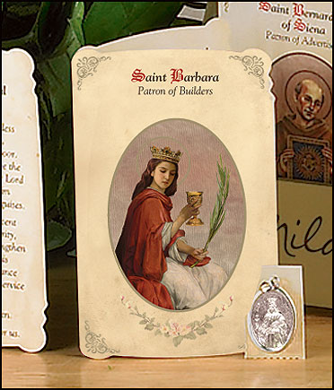 St Barbara (Builders) Holy Card with Medal
