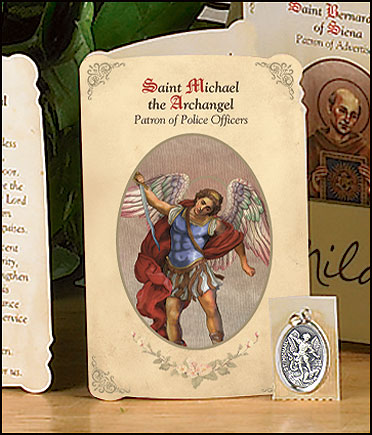 St Michael (Policemen & Security Guards) Holy Card with Medal