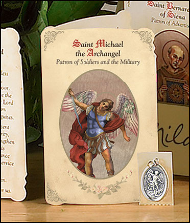St Michael (Soldiers & Military) Holy Card with Medal