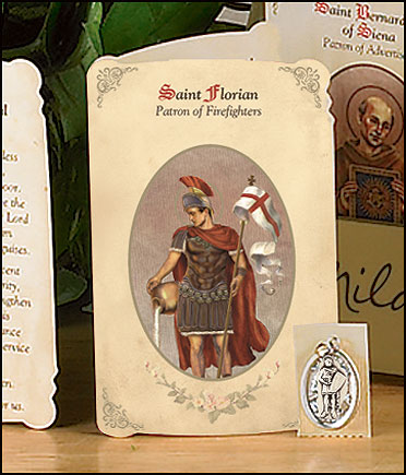 St Florian (Firefighters) Holy Card with Medal