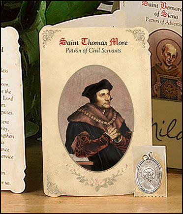 St Thomas More (Civil Servants) Holy Card with Medal