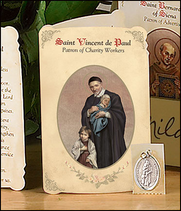 St Vincent De Paul (Volunteers & Charity Workers) Holy Card with Medal
