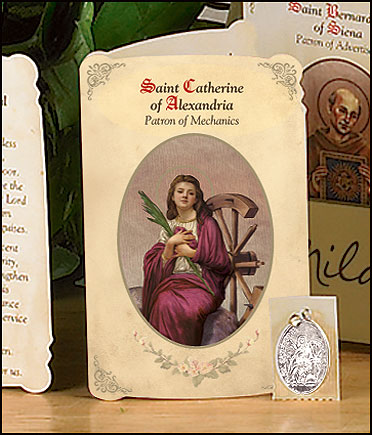 St Catherine (Mechanics) Holy Card with Medal