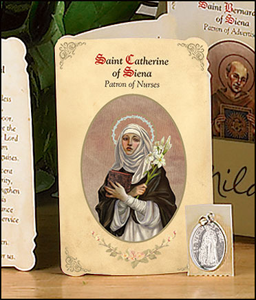 St Catherine (Nurses) Holy Card with Medal