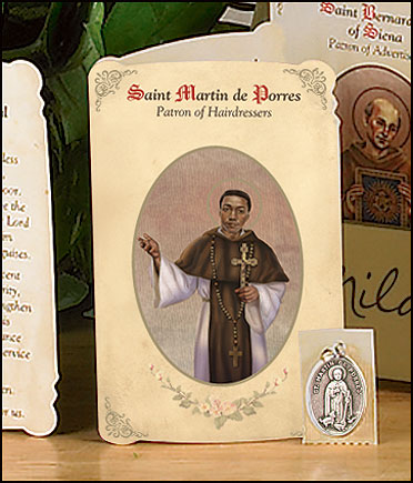 St Martin (Hairdressers & Barbers) Holy Card with Medal