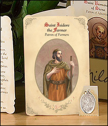 St Isidore (Farmers & Agricultural Workers) Holy Card with Medal