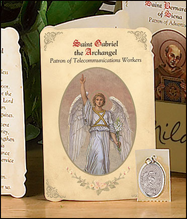 St Gabriel (Telecom Workers) Holy Card with Medal
