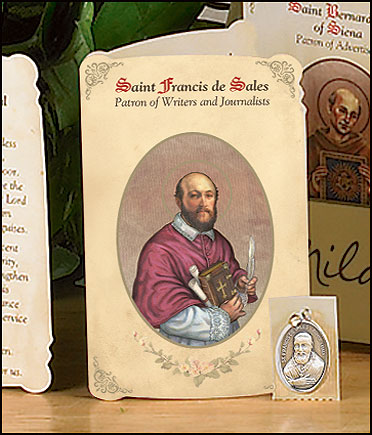 St Francis (Writers & Journalists) Holy Card with Medal