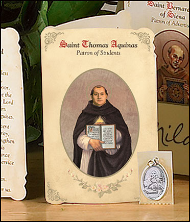 St Thomas Aquinas (Students) Holy Card with Medal