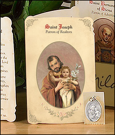 St Joseph (Realtors) Holy Card with Medal