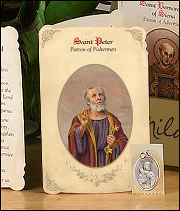 St Peter (Fishermen) Holy Card with Medal