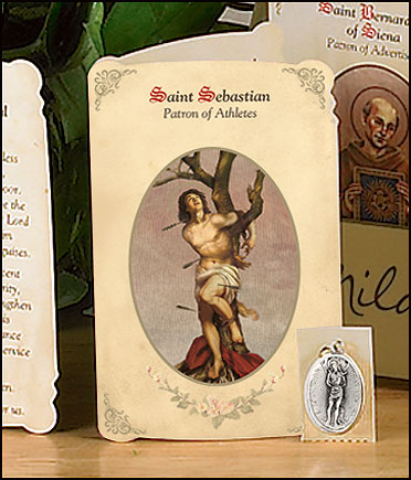 St Sebastian (Athletes) Holy Card with Medal