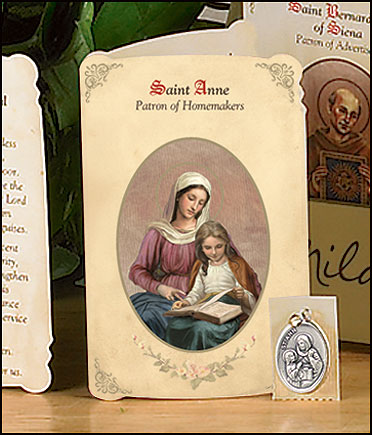 St Anne (Homemakers) Holy Card with Medal