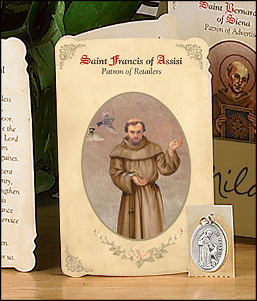 St Francis (Retail Sales) Holy Card with Medal