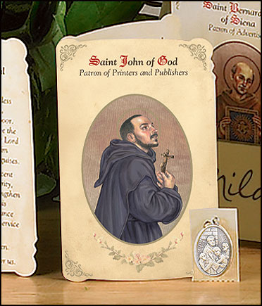 St John of God (Printers & Publishers) Holy Card with Medal
