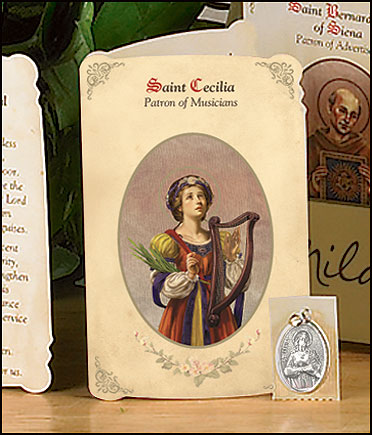 St Cecilia (Musicians & Singers) Holy Card with Medal