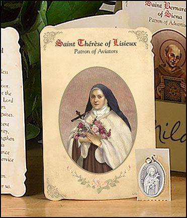 St Therese (Aviators & Flight Attendants) Holy Card with Medal