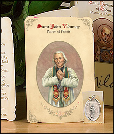 St John Vianney (Priests) Holy Card with Medal