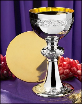 Ornamented Chalice and Paten Set