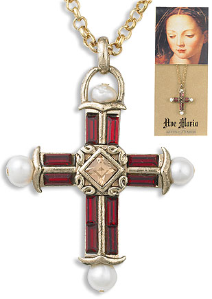 Red Gem Stone Cross Pendant