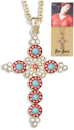 Coral and Turquoise gemstone crucifix pendant